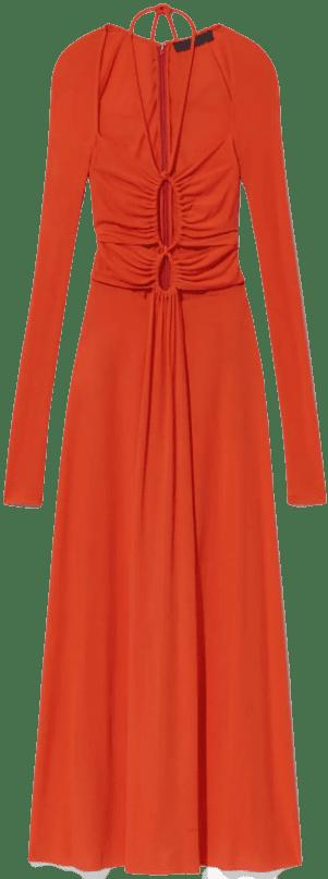Orange Matte Jersey Drawstring Dress