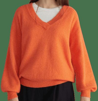 Orange Oversized Cashmere and Silk V-Neck Pullover-Falconeri