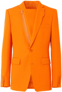 Orange Wool Zip-Detail Blazer - Burberry