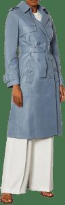 Pale Blue Leather Trench Mac-Karen Millen