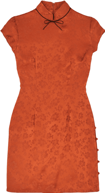 Paprika Bow-Embellished Satin-Jacquard Mini Dress