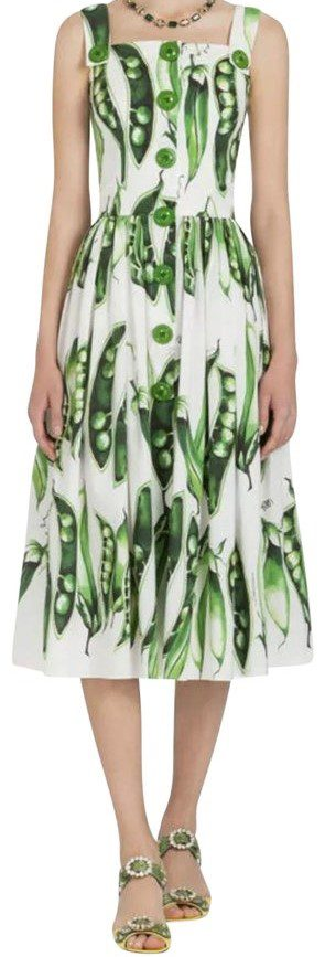 Pea-Print Cotton Poplin Midi Dress-Dolce & Gabbana