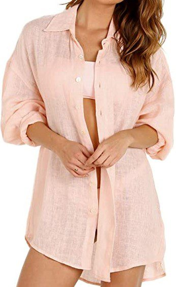 Perla Rosa Eco Linen Playa Shirt Dress-Vitamin A