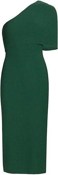 Pine Asymmetrical Cape Dress-The Sei