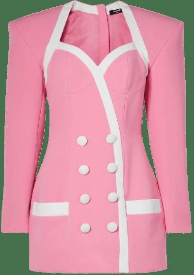 Pink Button-Detailed Two-Tone Crepe Mini Dress-Balmain