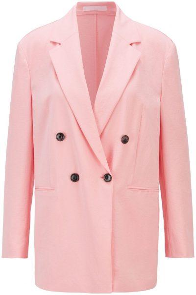 Pink Crinkle Crepe Double-Breasted Jacket-Hugo Boss