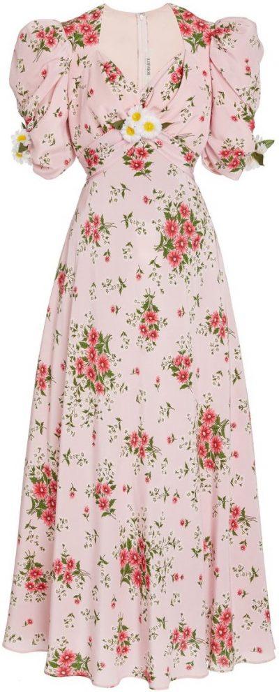 Pink Daisy-Printed Silk Dress-Rodarte