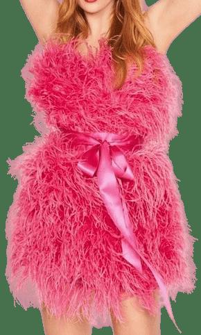 Pink Doris Feathered Mini Dress-Jenny Packham