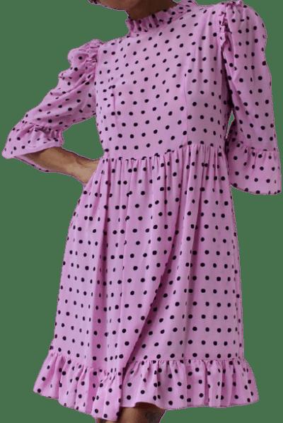 Pink Dot Silk Spring Prairie Dress