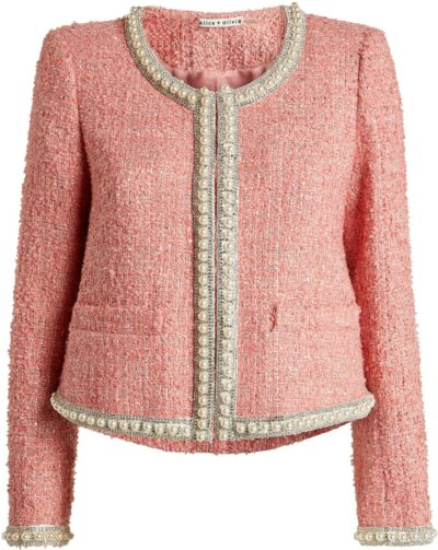 Pink Embellished Gwyneth Tweed Jacket-Alice + Olivia