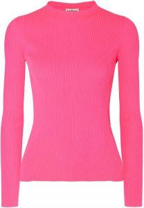 Pink Neon Ribbed-Knit Top-Balenciaga