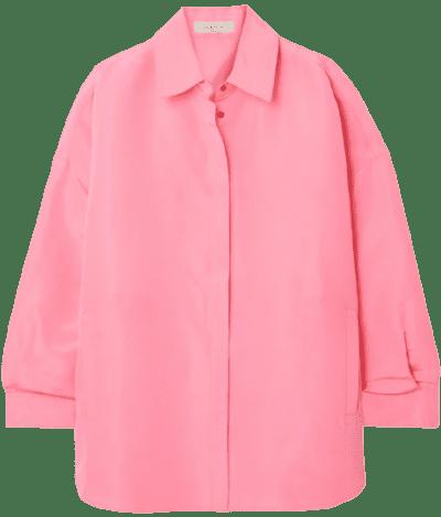 Pink Oversized Neon Silk Shirt
