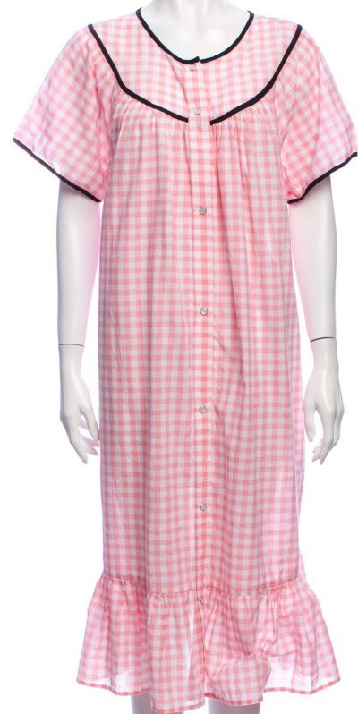 Pink Plaid Print Midi Length Dress