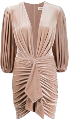 Pink Ruched Velvet Mini Dress-Alexandre Vauthier