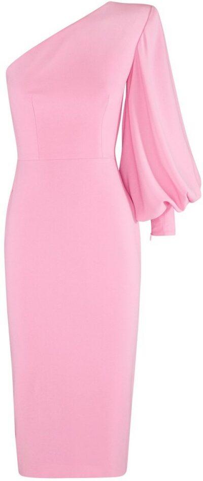 Pink Warner One-Shoulder Crepe Midi Dress-Alex Perry