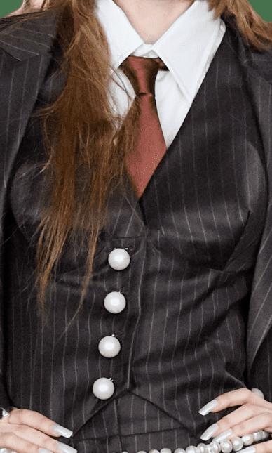 Pinstripe Fall 2020 Jacket-Dilara Findikoglu