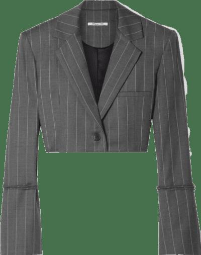Pinstriped Box Cropped Wool-Blend Blazer