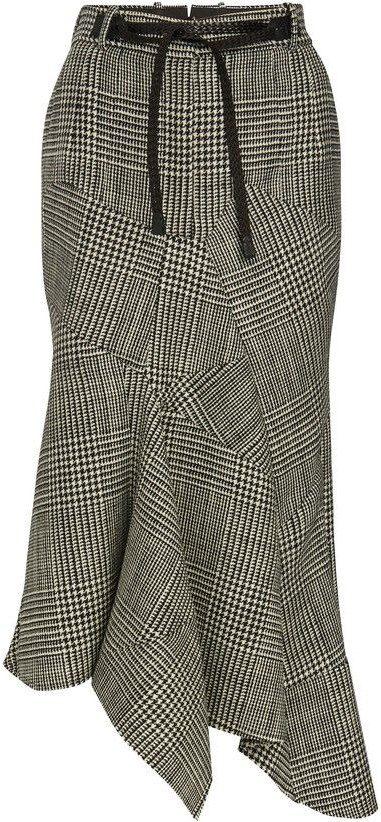 Plaid Prince Of Wales Skirt-Tom Ford