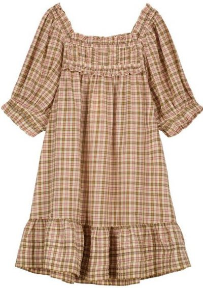 Plaid Squared Ruffled Collar Cadiz Dress