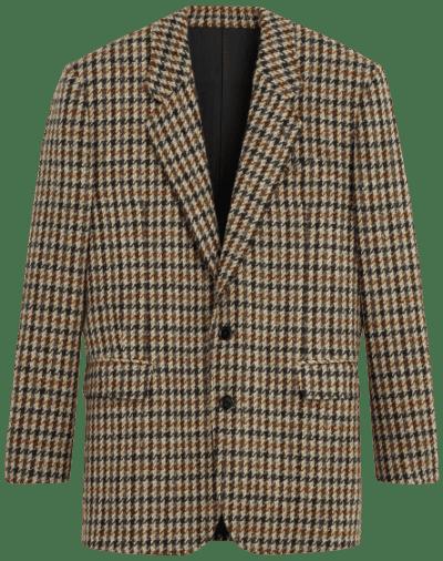 Plaid Tournon Wool Jacket-Celine