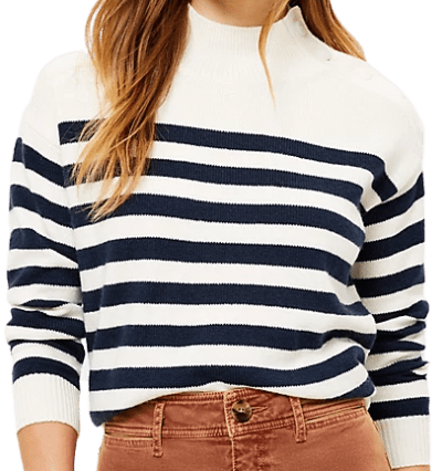 Popcorn Petite Striped Shoulder Button Sweater