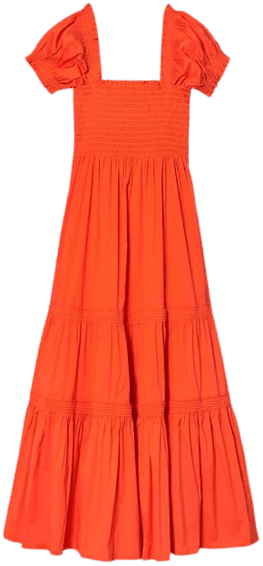 Poppy Red Smocked Midi Dress-Tory Burch