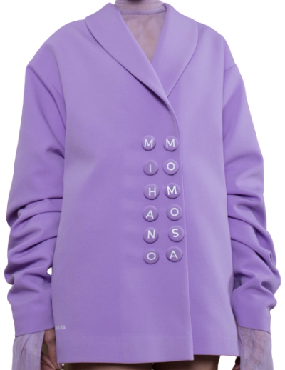 Purple Double Breast Oversized Blazer