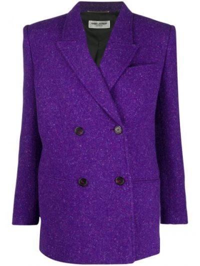Purple Double-Breasted Slim Blazer