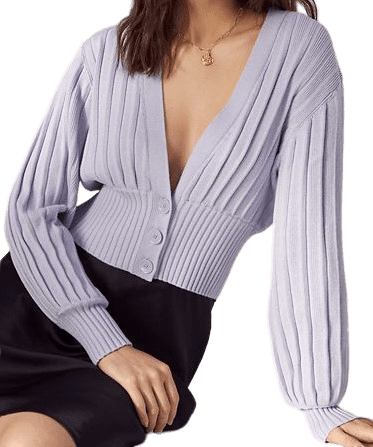 Purple New Plunge Front Cardigan-Wilfred