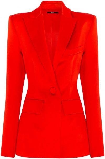Red Banks Duchess Silk Satin Blazer-Alex Perry