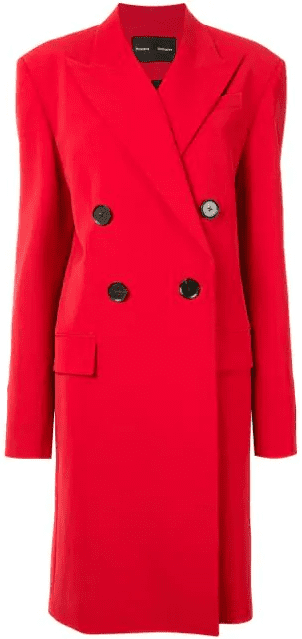 Red Double-Breasted Technical Suiting Long Coat