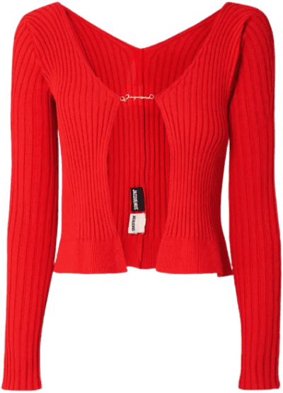 Red Embellished Ribbed-Knit Cardigan-Jacquemus