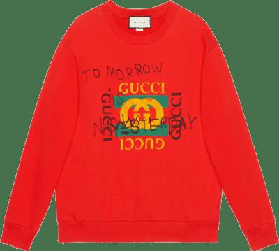 Red Felted Cotton Logo Sweatshirt