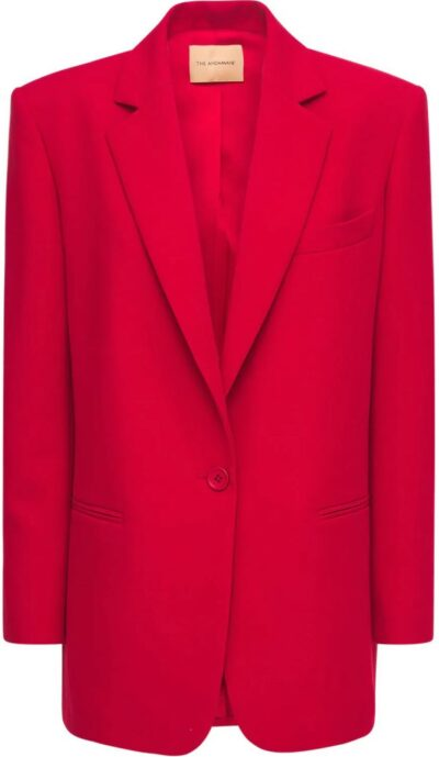 Red Oversize Guia Twill Stretch Blazer-The Andamane