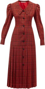 Red Pleated Houndstooth Silk-Crepe Midi Dress-Alessandra Rich