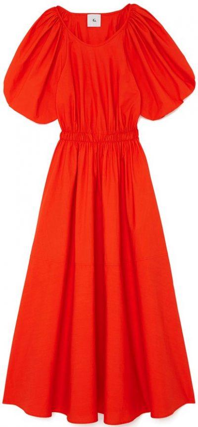 Red Sheely Puff-Sleeve Midi Dress-G. Label