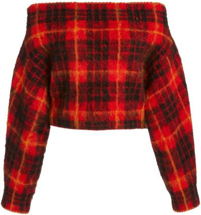 Red Tartan Plaid Off-The-Shoulder Sweater-MONSE
