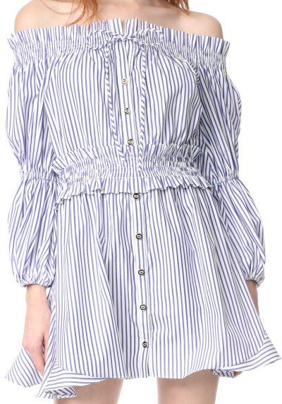 Royal Blue Stripe Peasant Dress