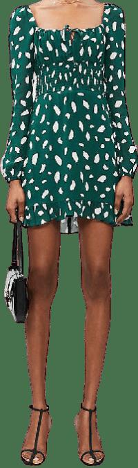 Rue Abstract Dot-Print Crepe Mini Dress-Reformation