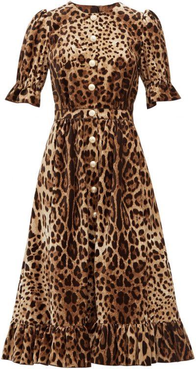 Ruffle-Trim Leopard-Print Velvet A-Line Midi Dress-Dolce & Gabbana