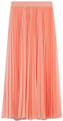 Salmon Pink Pleated Techno-mesh Skirt-Max&Co