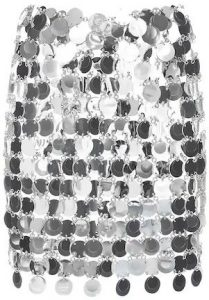 Silver Round Sequined Mesh Mini Skirt-Paco Rabanne