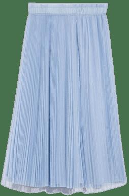 Sky Blue Pleated Tulle Skirt-MAX&Co.