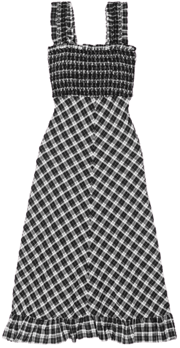 Smocked Checked Maxi Dress-Ganni