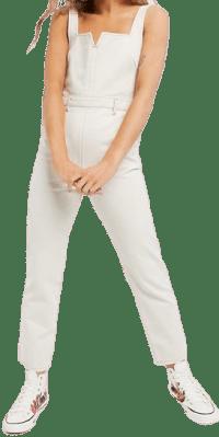 Stone Denim Low Back Jumpsuit-Asos Design