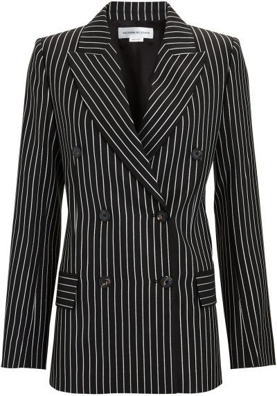 Striped Double-Breasted Blazer-Victoria Beckham