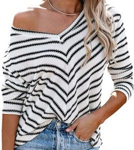 Striped Long Sleeve Casual Round Neck Blouse