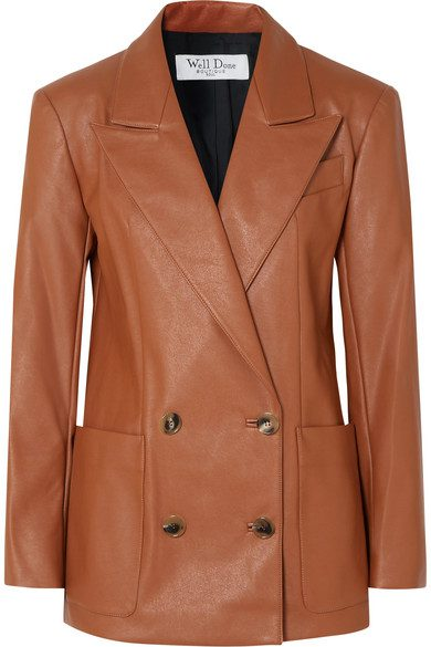 Tan Double-Breasted Faux Leather Blazer-WE11DONE