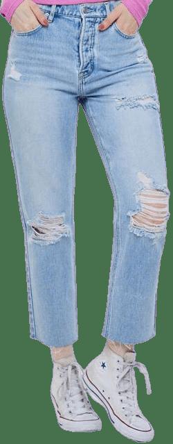 Terra Blue High Waisted Straight Leg Jeans-PacSun
