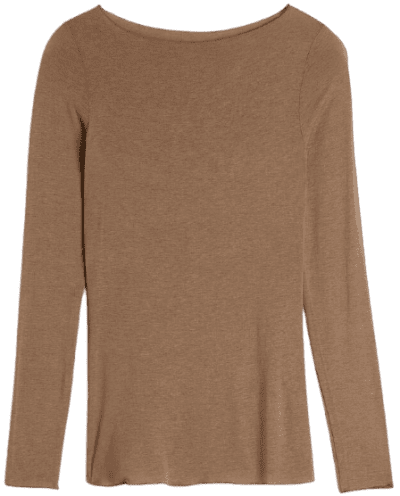 Toffee Brown Boat Neck Modal Cashmere Ultralight Jumper-Intimissimi